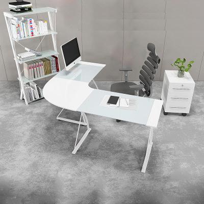 Home Glass Corner Computer Desk in L Shape