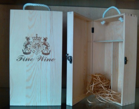 Six Bottle Wood Wine Box, Pine Materia Wooden Wine Box
