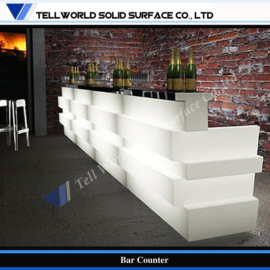 Modern and Fancy Design LED Lighted Home Corian Bar Counter (TW ...