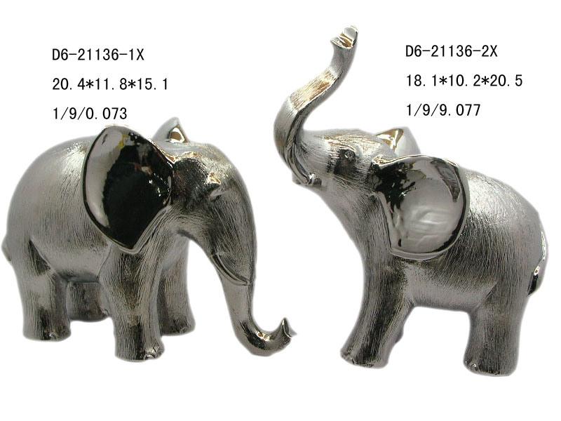 Ceramic Electroplated Elephant Figurine D6 21136 China