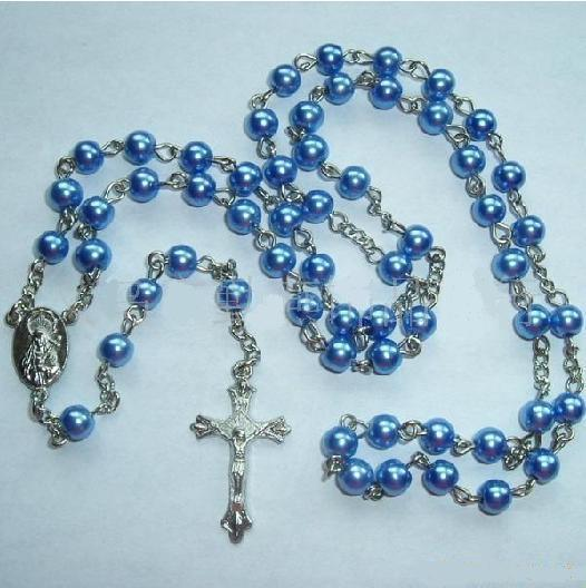 Glass Imitation Pearl Religious Cross Necklace-Rosary