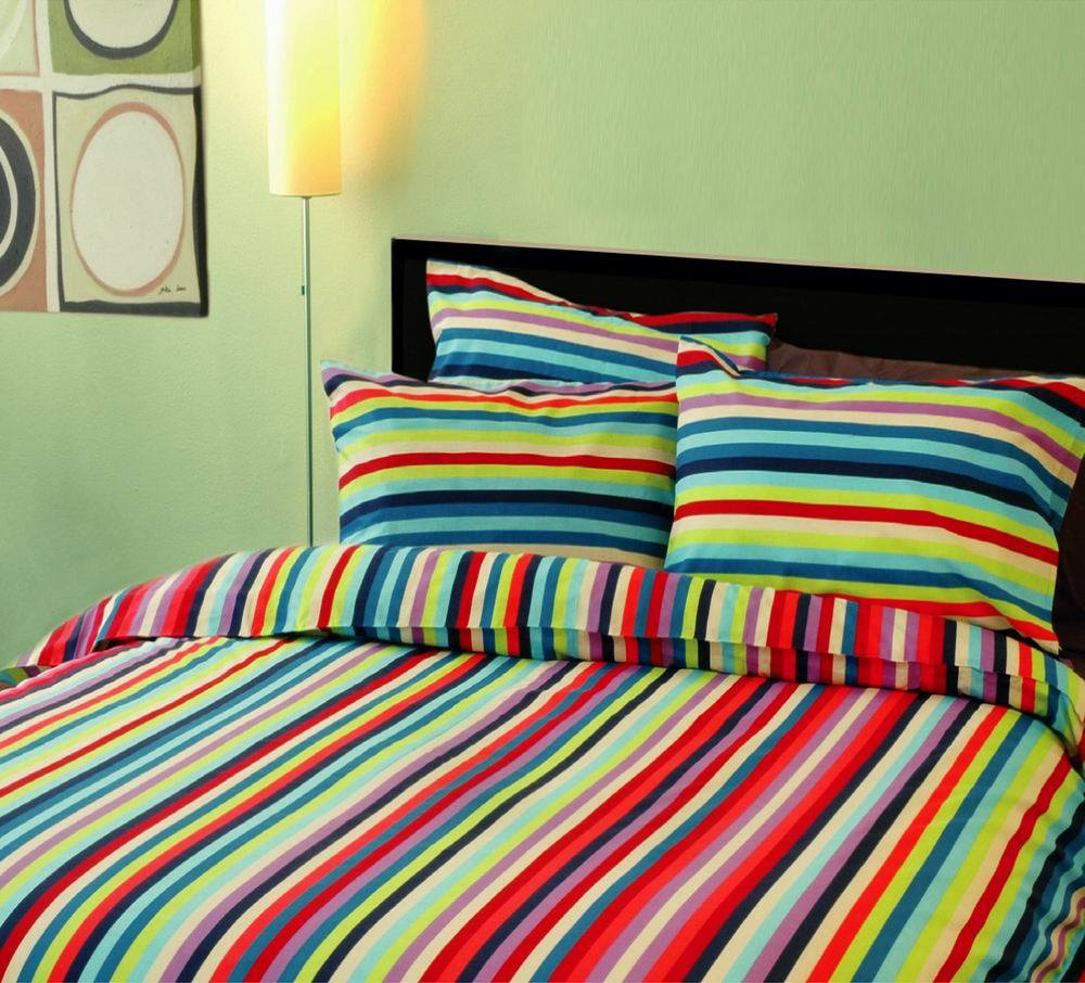China Colorful Stripe Printed Bedding Set B01006 China Colorful Bed Sheets
