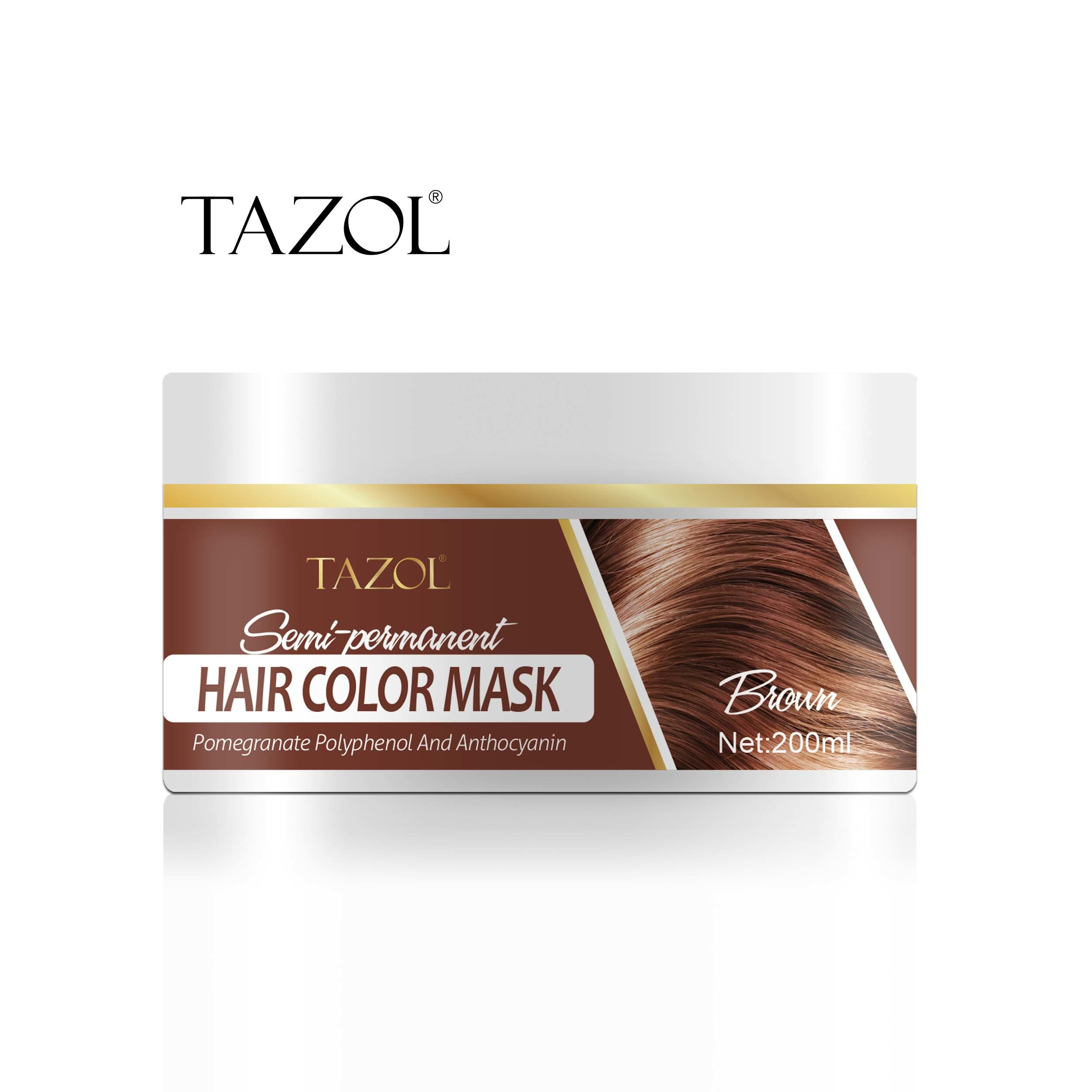 Tazol Semi-Permanant Hair Color Mask 200g with Dark Brown Color