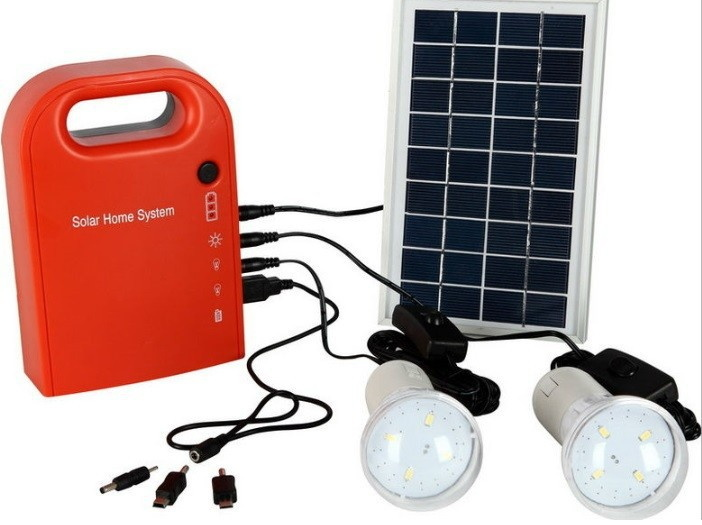 Solar Power System 3W Portable Solar Generator Home Light Solar Panel Kit USB Output for Camping/Hiking/Home Use with 2 LED Lamp