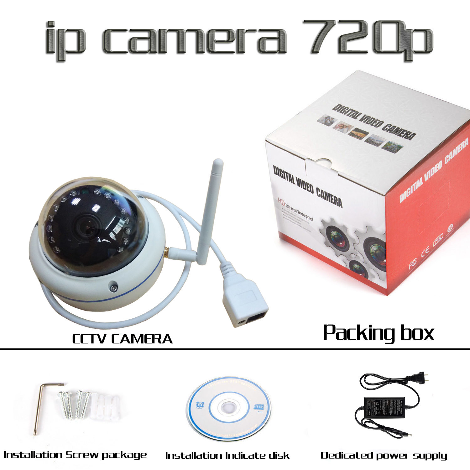 IR 720p Wireless IP Security Dome Camera Support Onvif EV-100d36ipc