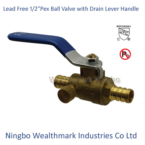 "cUPC NSF 61 Ab1953 Lead Free Brass 1/2"" Pex Ball Valve with Drain with Lever Handle"