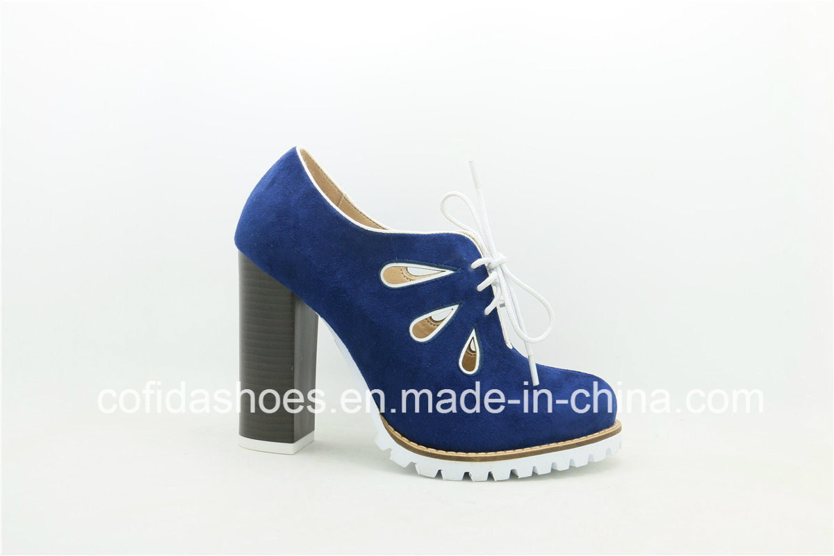 Updated Lace-up Leather Women Shoe with Sexy Holes