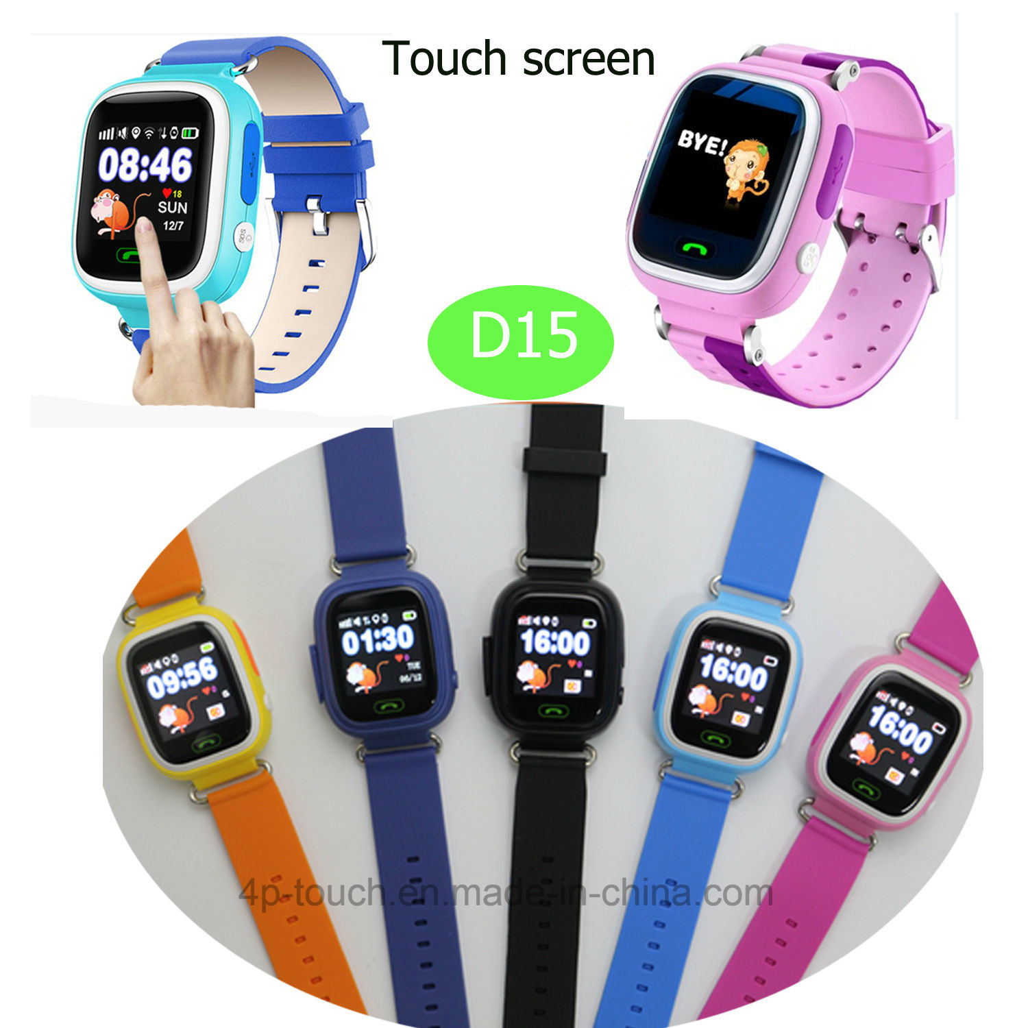 Colorful Touch Screen Kids/Child GPS Tracker Watch with Real-Time Location D15