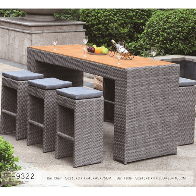 Outdoor Patio Garden Rattan Furniture Big Bar Chairs Set for Leisure Time