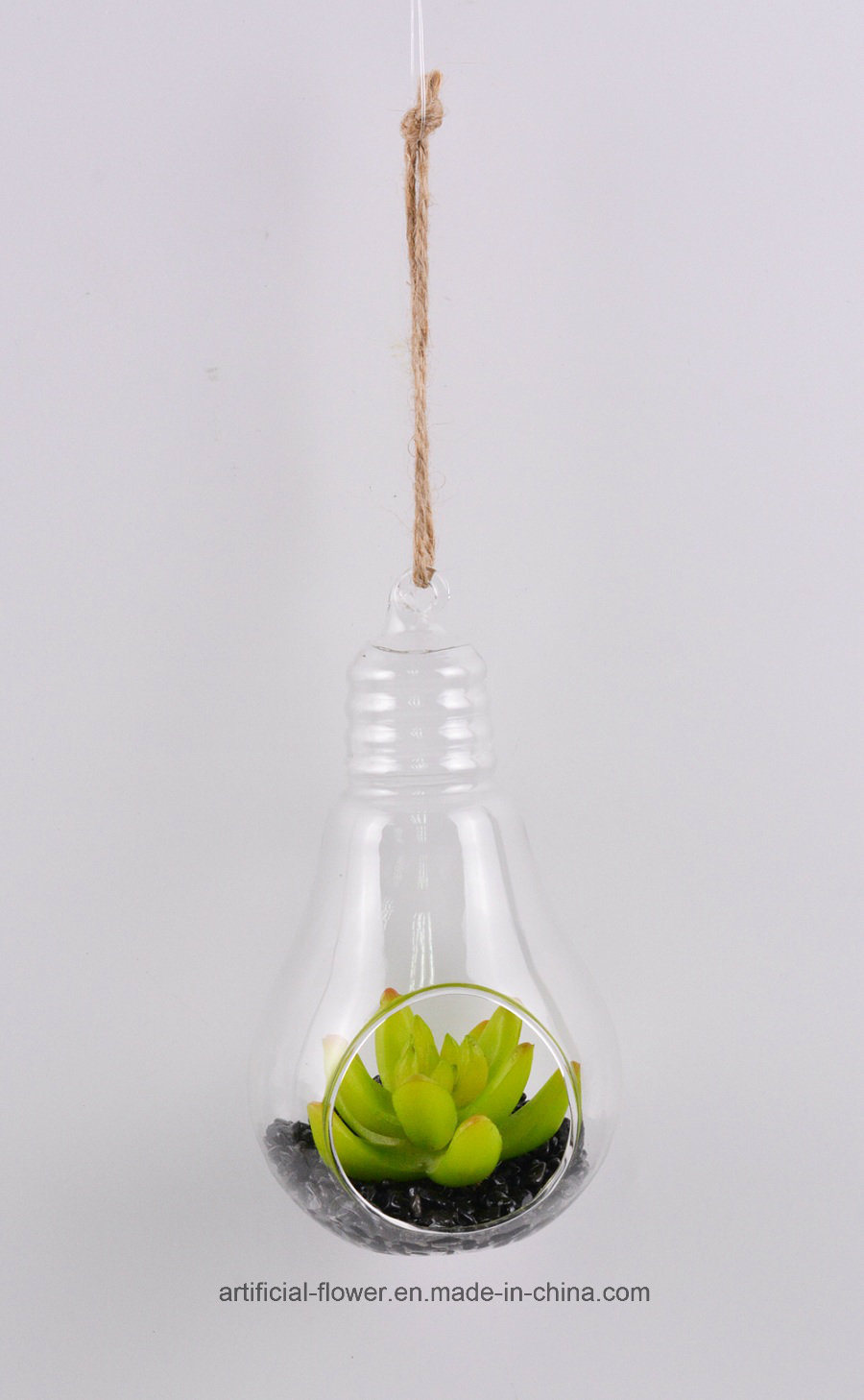Mixed Artificial Succulent in Hanging Glass Vase for All Public Decoration You Like