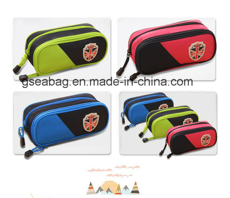2017 New Design Fashion School Stationery Case Double Zipper Pencil Bag for Children (GB#30098)