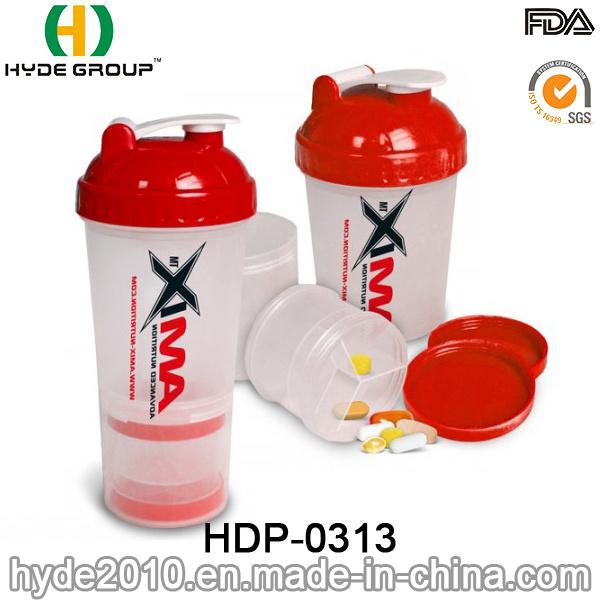 600ml BPA Free Plastic Protein Smart Shaker Bottle (HDP-0313)