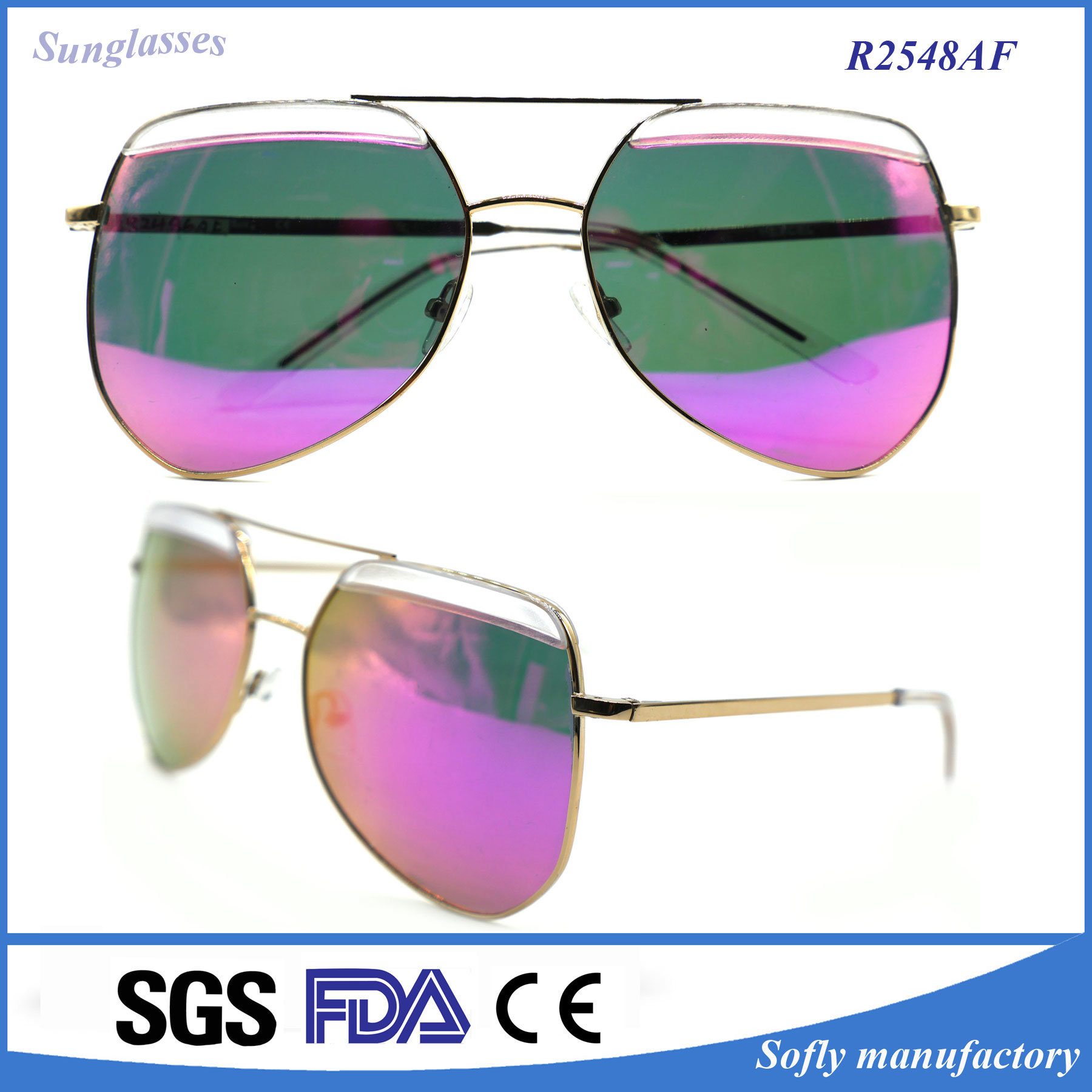 New Fashion Avaitor Polarized Mirror Metal Eyewear