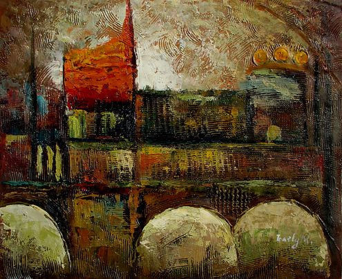 Abstract City Scape Oil Painting on Canvas (LH-270000)