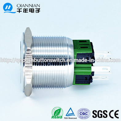 Qn25-A3 25mm Character Illuminated Type Momentary Latching Flat Head Pin Terminal Metal Push Button Switch