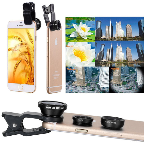 3 in 1 Universal Clip Cell Phone Camera Lens Kit