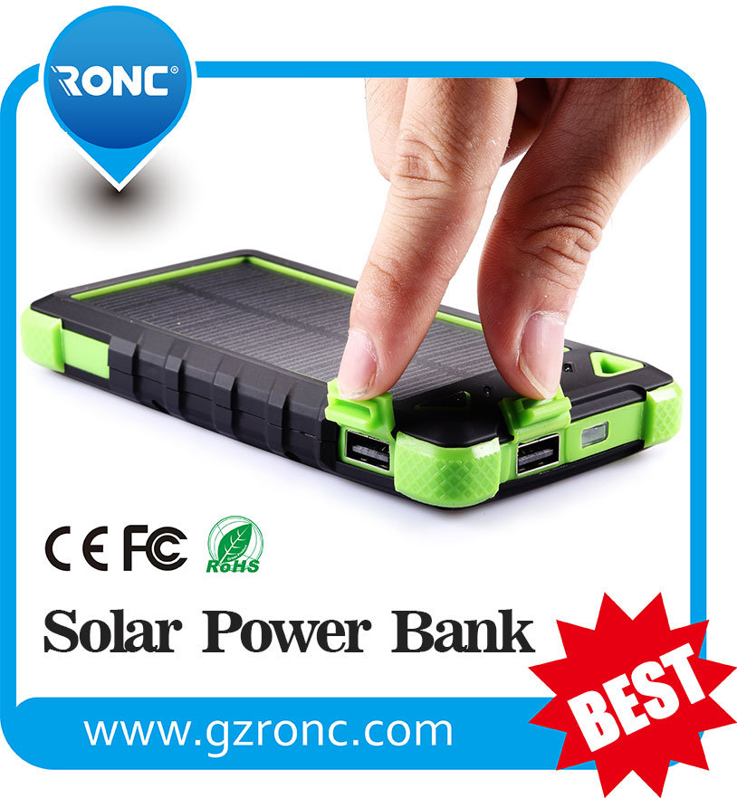 Waterproof 8000mAh Solar Charger Mobile Power Bank with Dual USB Port