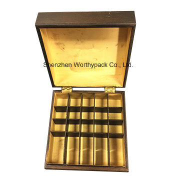 Varnished Wooden Tea Storage Box with 20 Slots