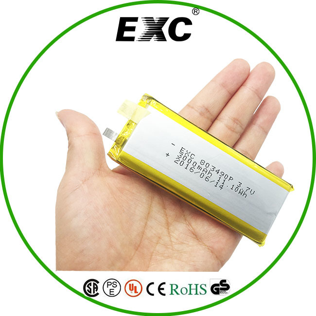 Exc803490 3000mAh Lithium Polymer Recharge Batteries