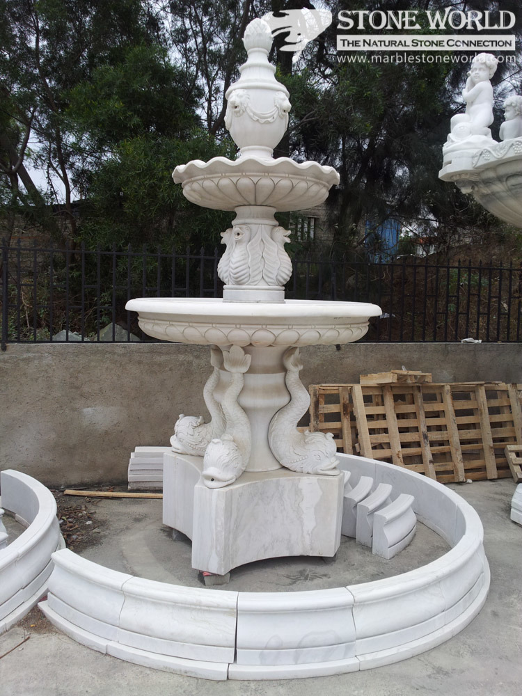 Two Tiers White Marble Hand Carving Fountain