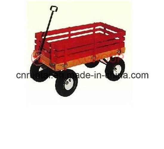 Red Wooden Tray Heavy Duty Garden Trailer Tool Cart