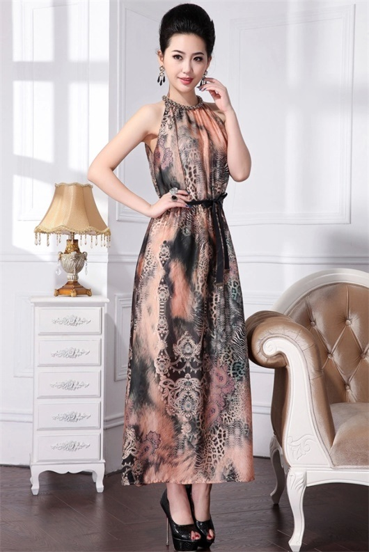 European Noble Ink and Wash Printing Maxi Dress for Women