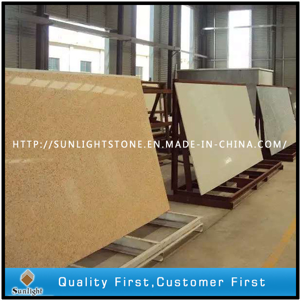 Man Made Yellow Quartz Stone Slabs for Countertop or Worktops