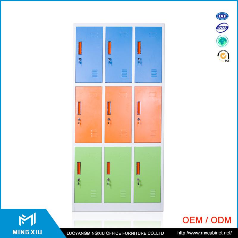 Luoyang Mingxiu Metal Office Furniture 9 Door Clothes Wardrobe Locker/Steel Clothes Cabinet