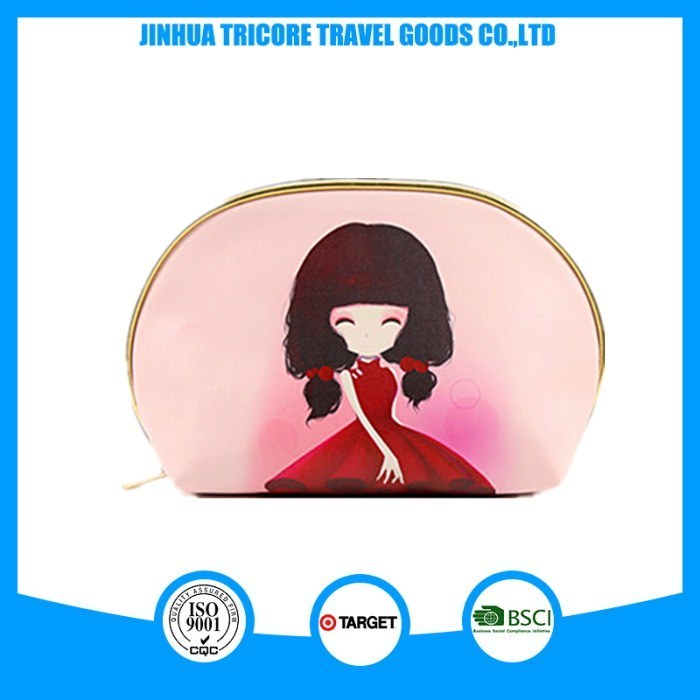 2017 Promotional Fashion Travel Cosmetic Bag with Printing, PU Cosmetic Bag China Supplier