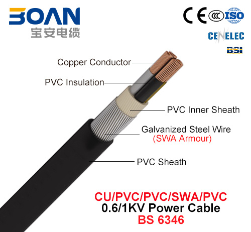 China Cu Pvc Swa Pvc Steel Wire Armored Power Cable 0 6