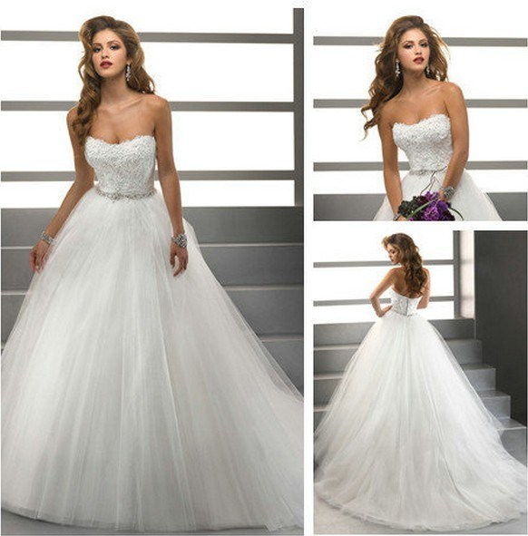 Strapless Lace Corset Organza Bridal Wedding Dress Ball Gown Custom Designer Ms Dresses H13425