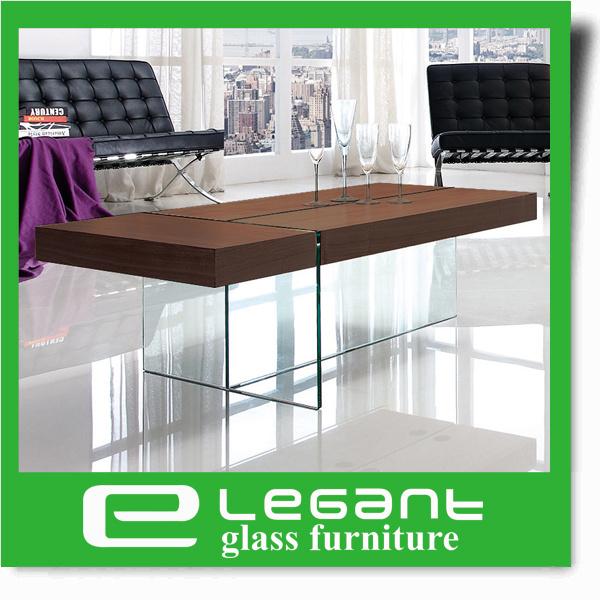 Kagawa Walnut Wood Veneer Coffee Table with Tempered Glass Legs