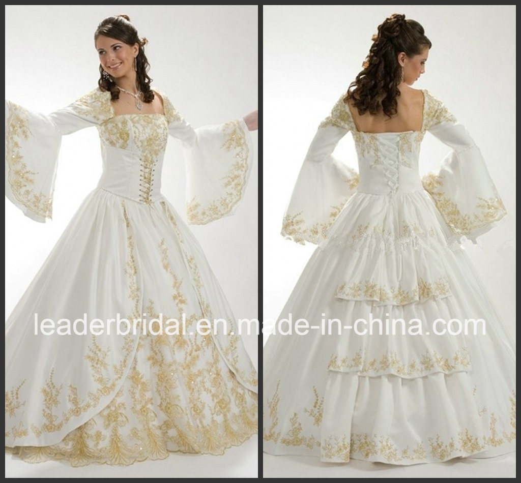 Gold Embroidery Wedding Dress Gold Embroidery White Wedding