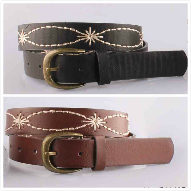 Aw Leather Embroidered Women Evening Belt