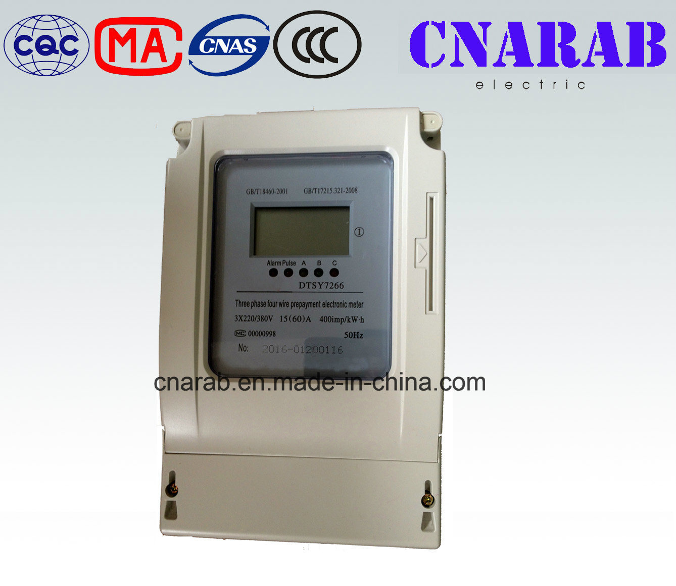 Three Phase Four Wire Electronic Prepaid Watt-Hour Meter (LCD display)