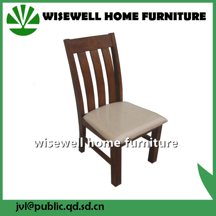Solid Oak Dining Chair with Leather Pad