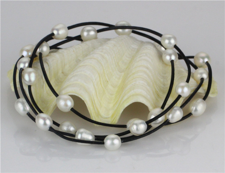 2016 Snh Long Leather White Pearl Necklace Wholesale