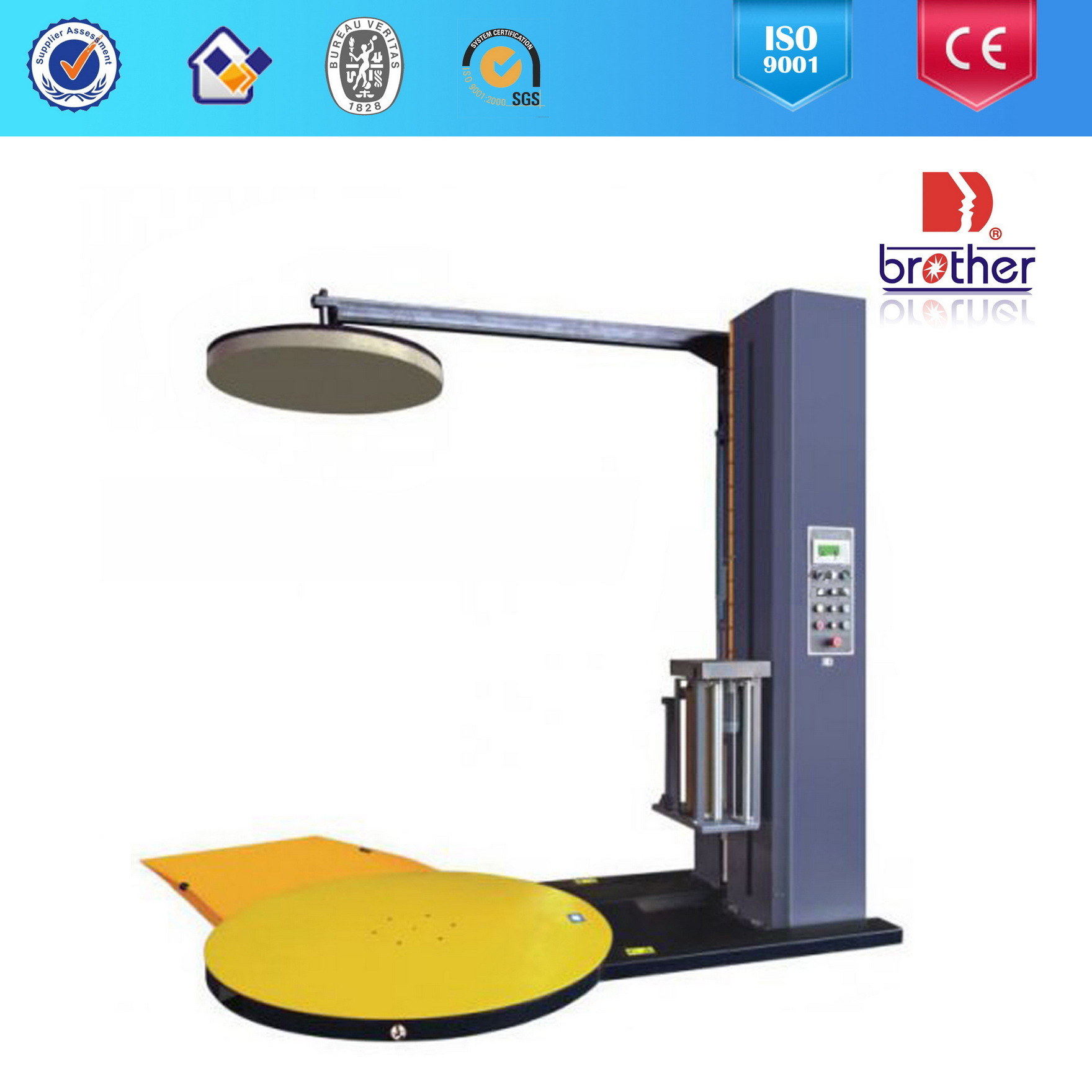 Automatic Stretch Wrapping Machine with Top Press Plate