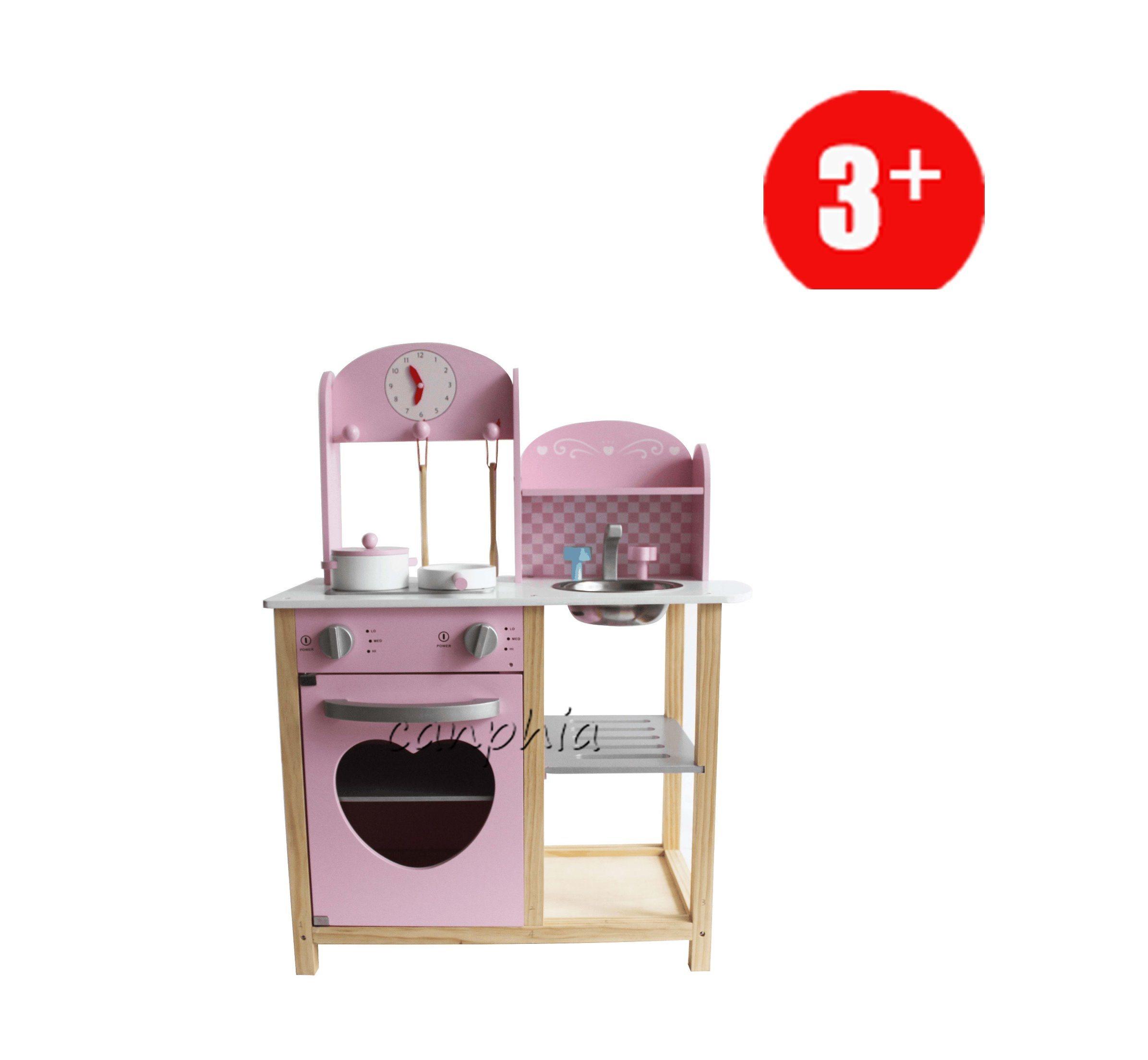 Wooden Pink World Kitchen Pretend Playset, DIY Wooden Toy for Children Education Toy