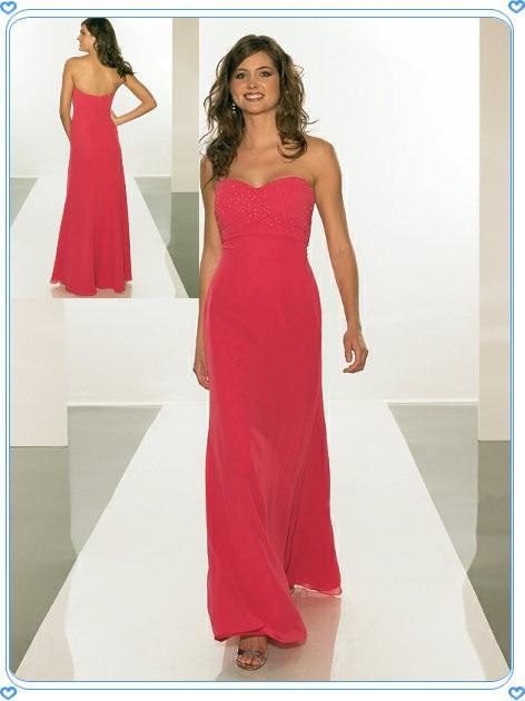 Strapless Hot Pink Chiffon Women Evening Dress