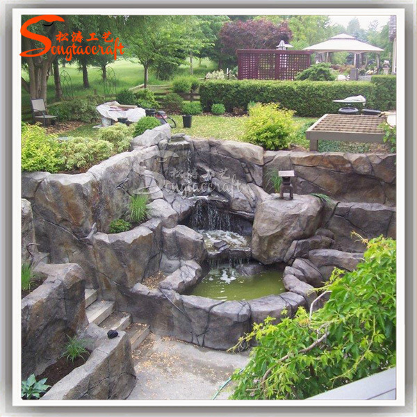 New Design Garden Stone Resin Artificial Rockery Water Fountain
