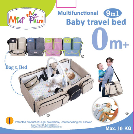 9in1 Portable Crib Baby Bag, Collapsible Variable Package, Multifunctional Baby Travel Bag&Bed Folding Bed Anti-Mosquito Insulation Game Handle Shoulder Patent