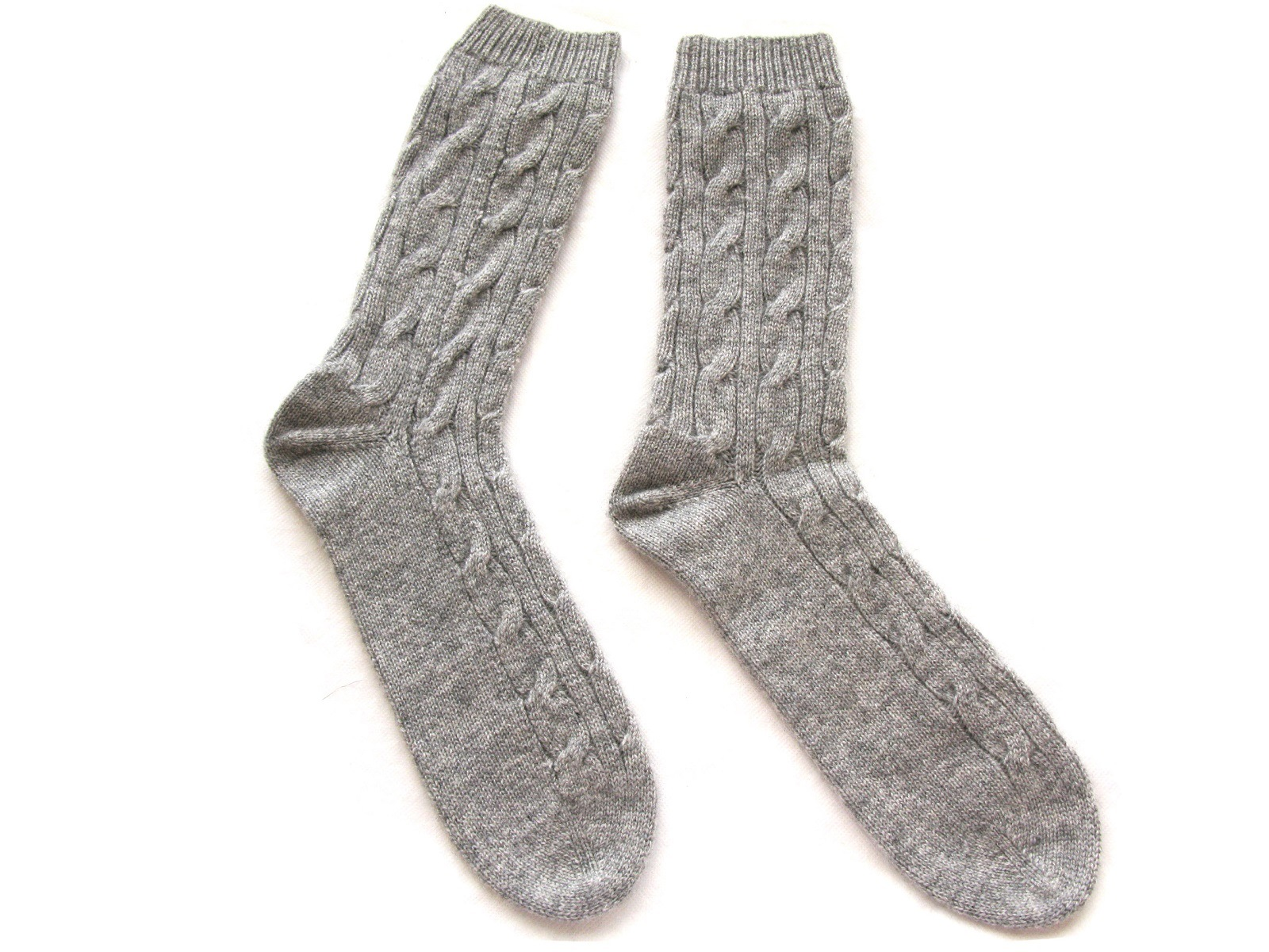 100%Cashmere Cabel Knit Socks Unisex