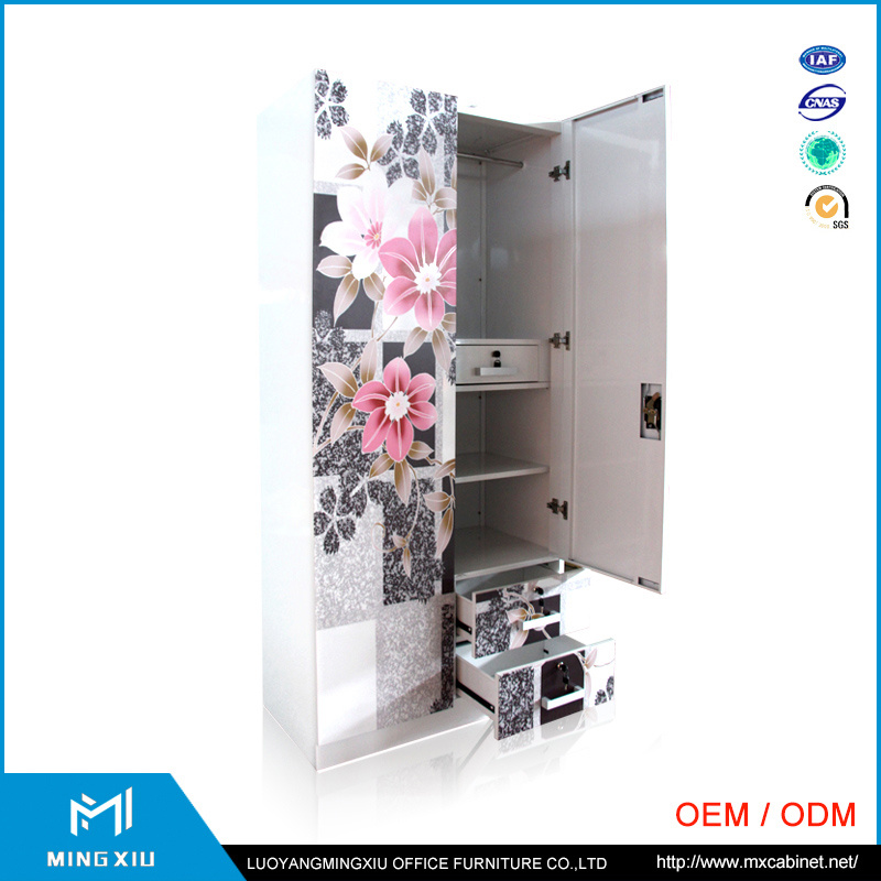 Chinese Supplier 3 Door Indian Bedroom Wardrobe Designs / Metal Storage Cabinet