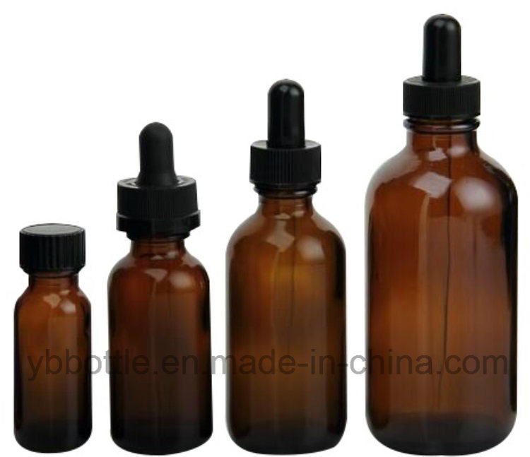 0.5oz/15ml, 1oz/30ml, 2oz/60ml, 4oz/120ml Amber Boston Round Glass Bottle Manufacturer