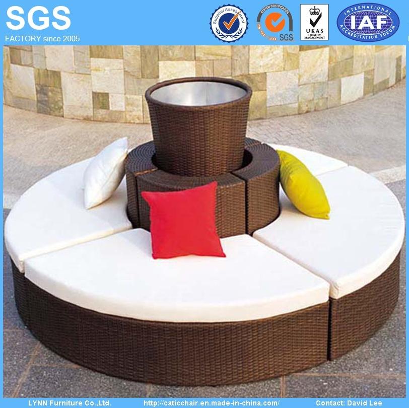 outdoor rattan garden furniture set round sofa with flower pot china outdoor rattan garden
