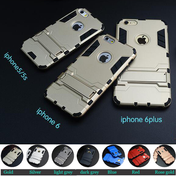Iron Man Style Stand Armor Case for iPhone 5/5s/6/6s/6 Plus