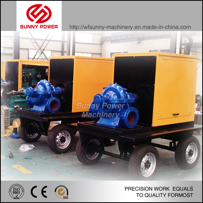 10inch Water Pump Centrifugal Driven by 33kw Engine for Flood Draining with Trailer