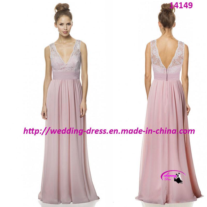 Sexy Nice Full Length Evening Bride Dress with V-Neck