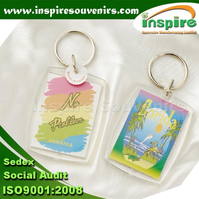 Promotion Custom Rectangle Acrylic Keyring